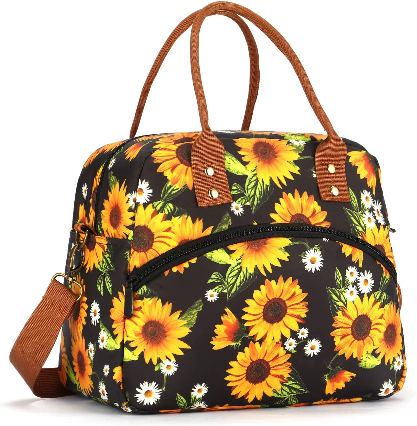 Leakproof Insulated Lunch Bag Reusable Lunch Tote Bag Cooler Bag Lunch Box with Adjustable Shoulder Strap Food Storage Container Meal Prep Organizer for Women Men Adult Work Picnic - Sunflowers