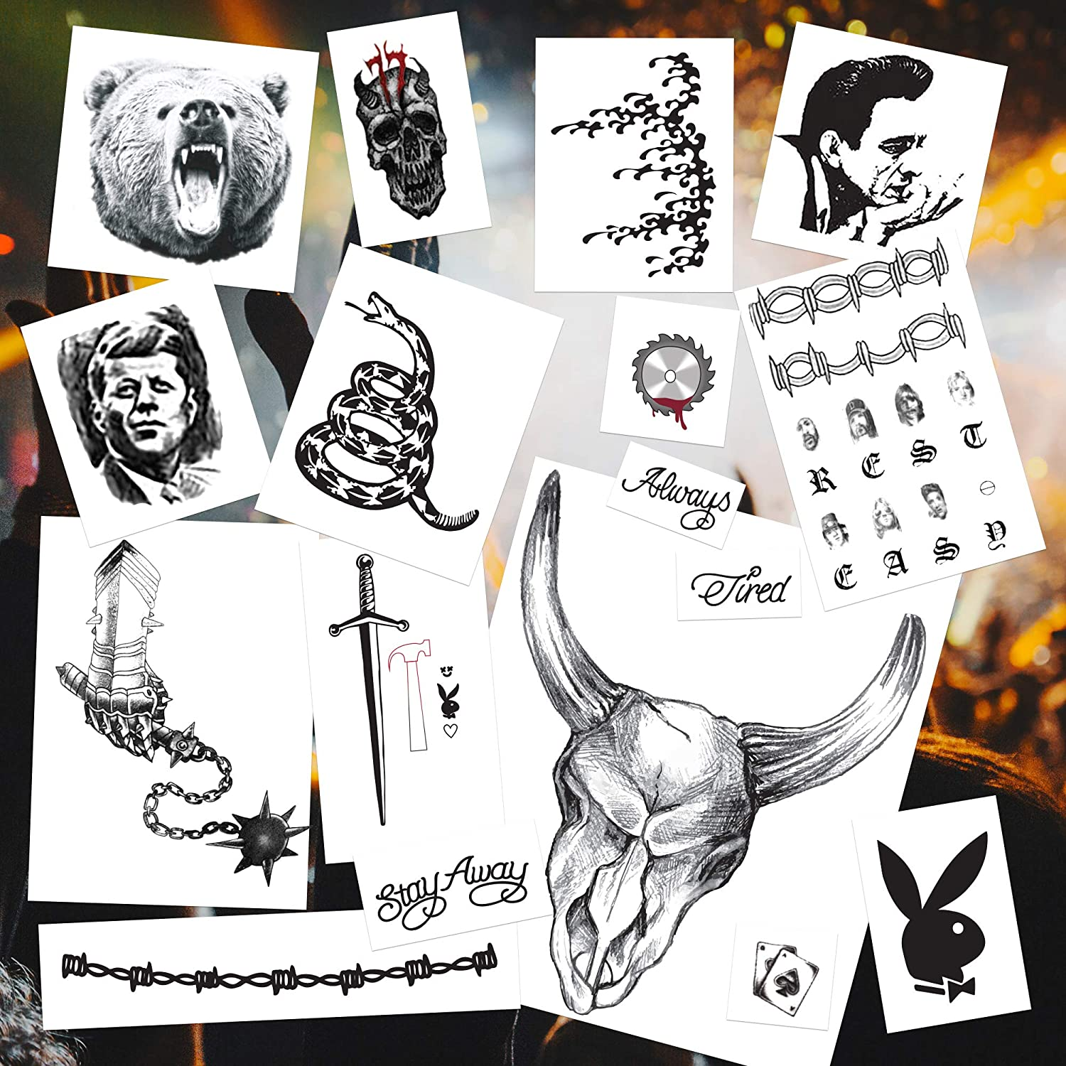 Rapper Face, Neck & Hand Temporary Tattoos | Halloween Costume | Includes new 2020 Tattoos | Skin Safe | MADE IN USA