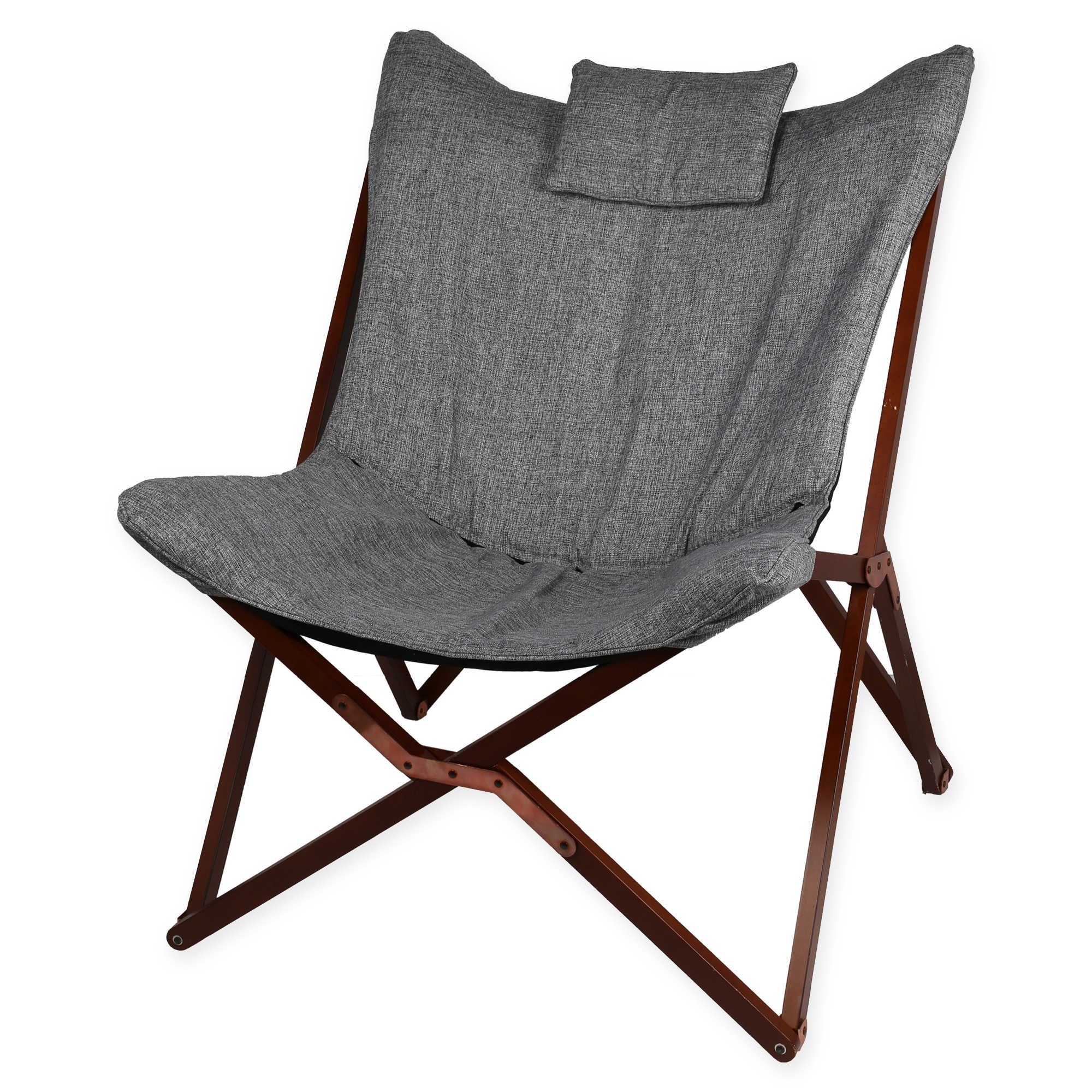 Modern and Crafted in a Butterfly Shape Linen Chair with Wooden Legs, Dark Grey