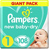 Pampers Baby-Dry, Size 1, Newborn, 2-5 kg, Giant Pack, 108 Diapers