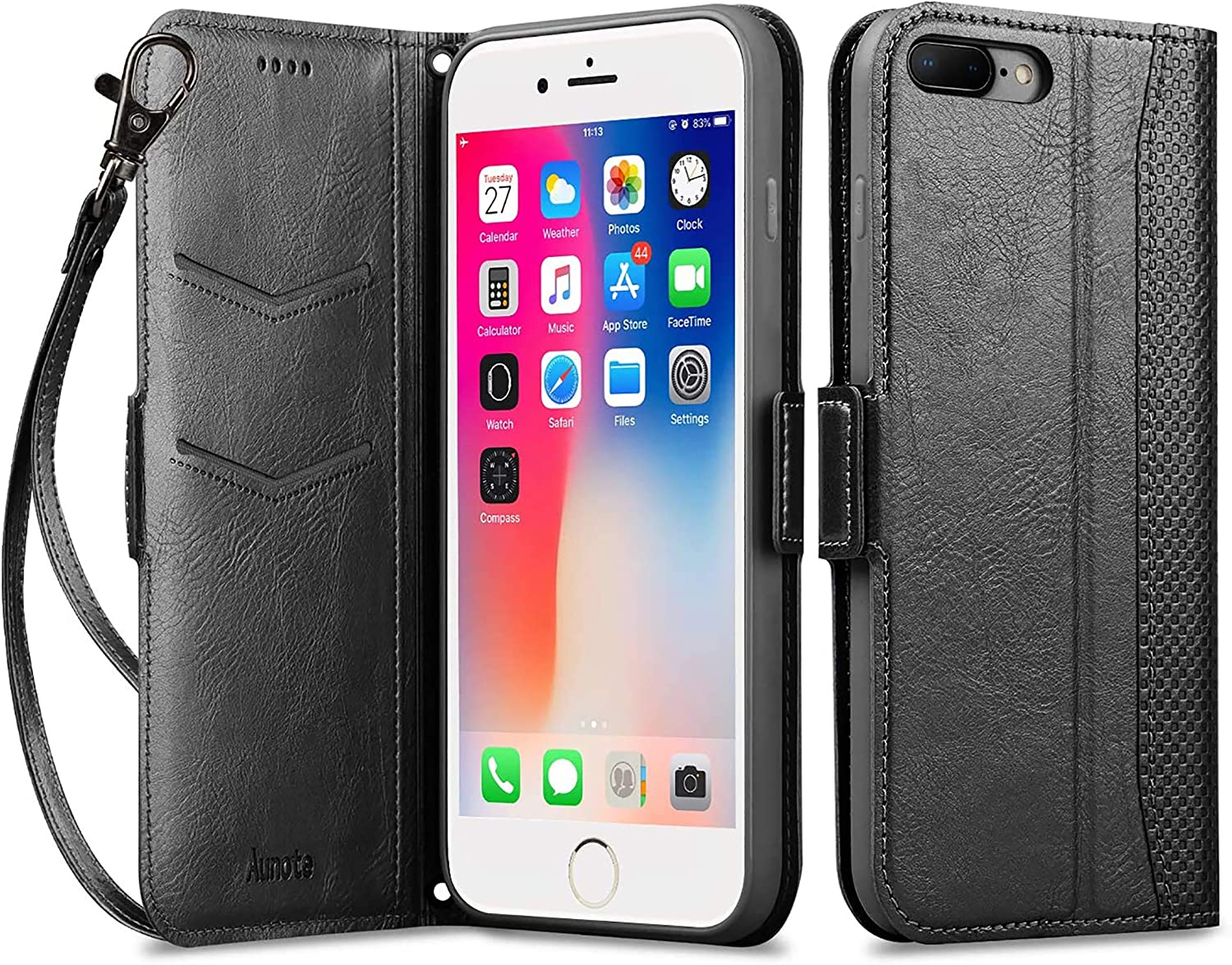 "Aunote iPhone 8 Plus Case, iPhone 7 Plus Leather Wallet Case Card Holder with Kickstand Function, Card Slots,Magnetic Closur for Apple iPhone 7 Plus/8 Plus 5.5"" - Black"