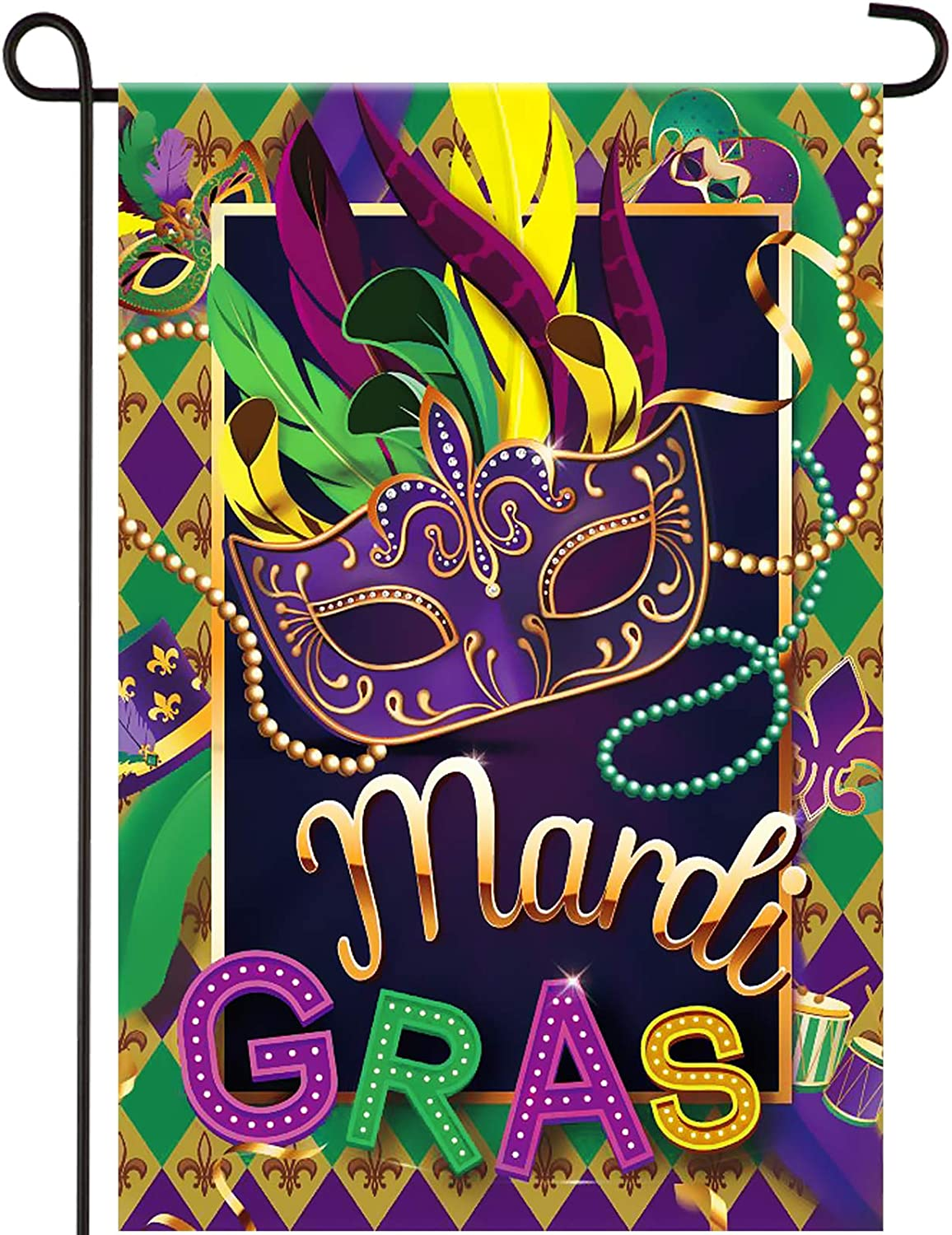 Mardi Gras Garden Flag Decoration Double Sided Mask Beads BuntingFlagsOutdoor Decorative Fleur De Lis Carnival Yard Flag New Orleans Mardi Gras Flag for Home Masquerade Party Holiday