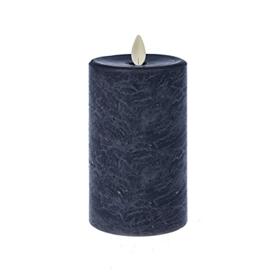 Summer GZ LED Textured Pillar Marbled Blue 5 x 3 Wax Flameless Candle with Timer: Home & Kitchen