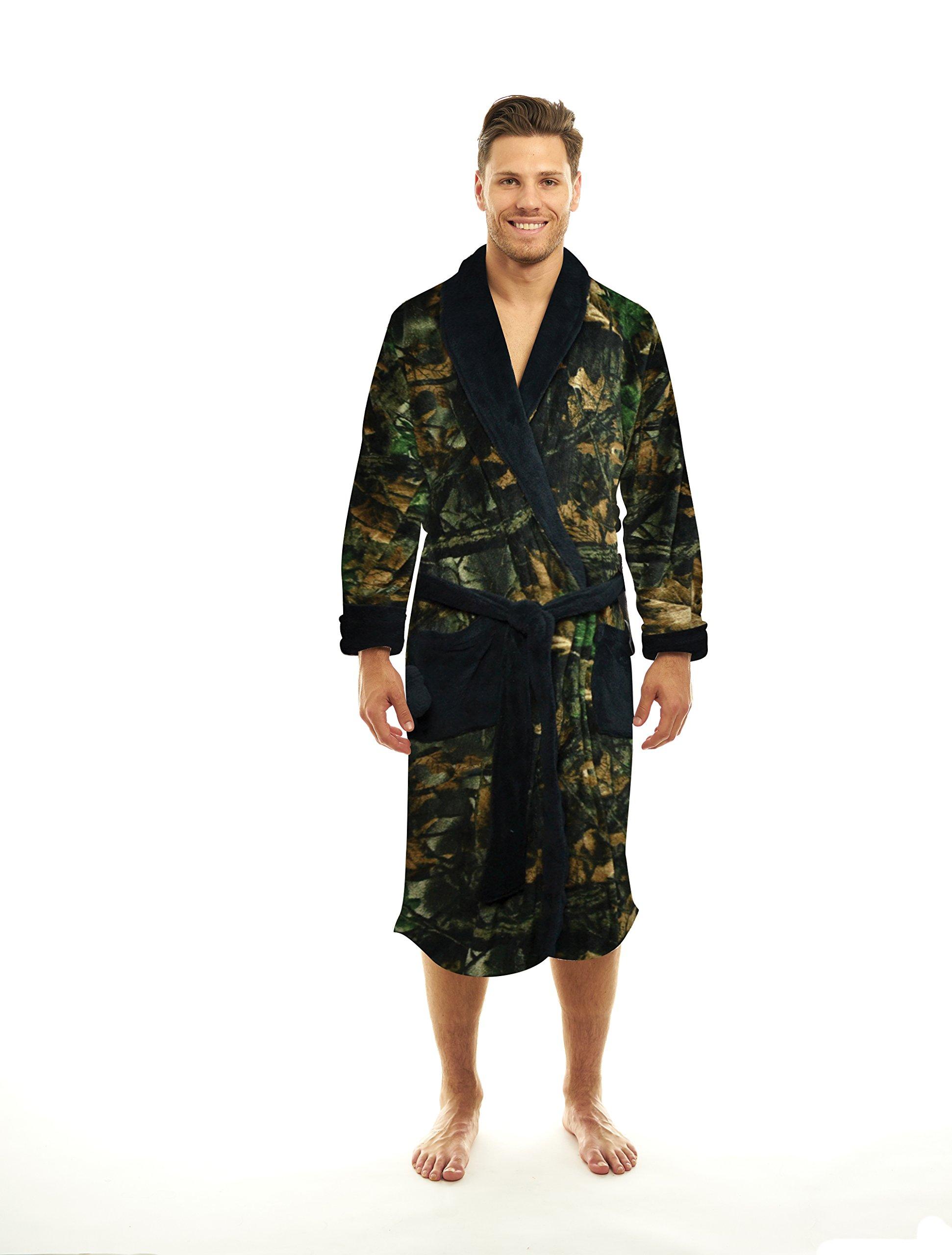 TrailCrest Coral Fleece Camo Lounge Robe (3X, Black)