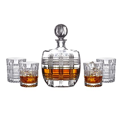 Fitz And Floyd Bridgeport 5 Piece Crystal Whiskey Barware Decanter Set With  4 Double Old