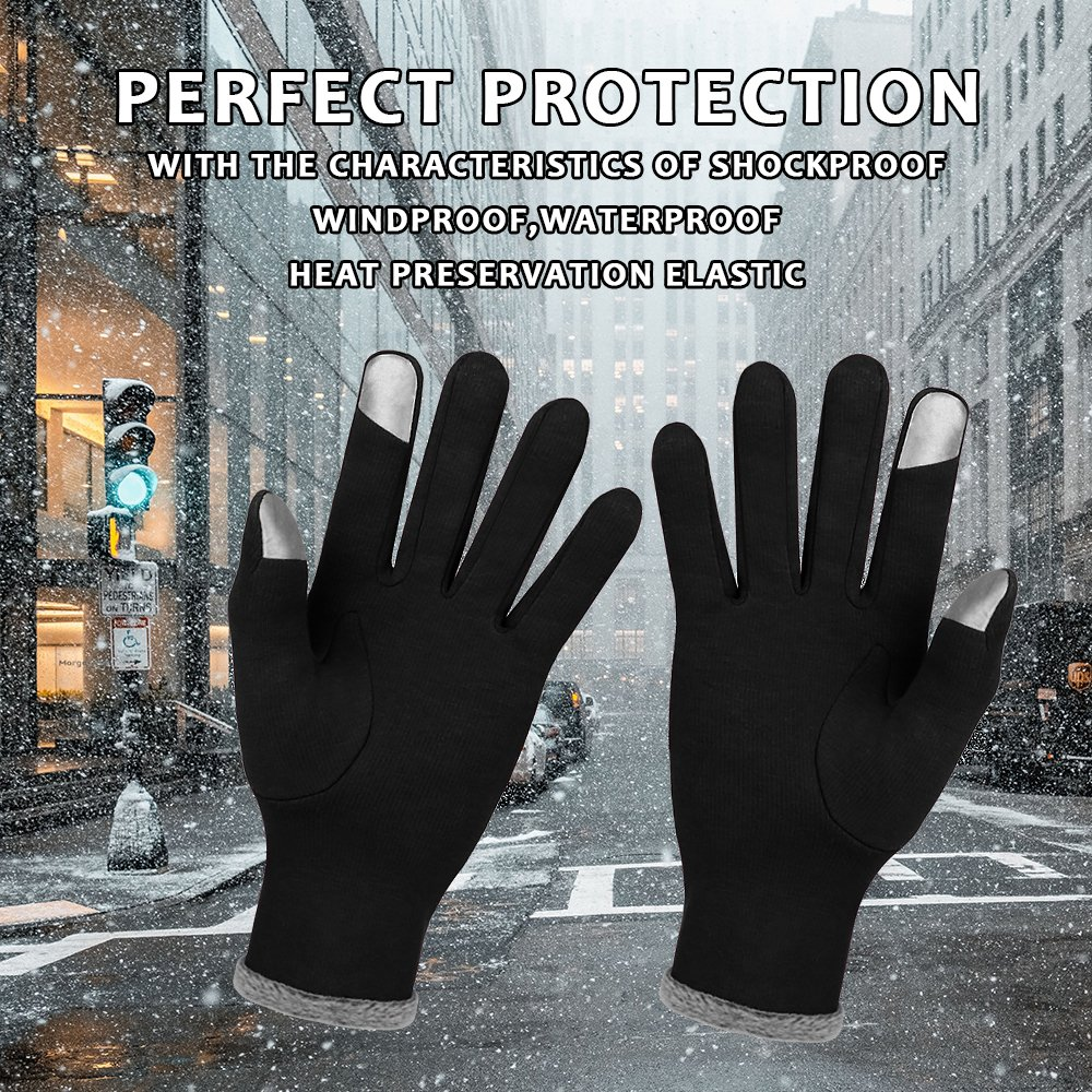 Winter Touch Screen Gloves,IEKA Thick Warmest Windproof Gloves,Fashion Touch Screen Fingers,Suitable for Smartphones and Touchscreen Devices - Black by IEKA (Image #7)