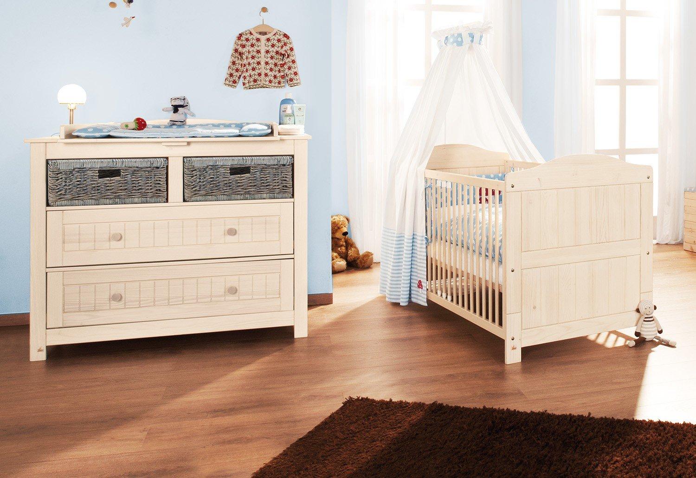 Pinolino Sparset Finja breit, 2-teilig, Kinderbett (140 x 70 cm) und breite Wickelkommode mit Wickelansatz, Fichte massiv, cremeweiß lasiert (Art.-Nr. 09 16 33 B)