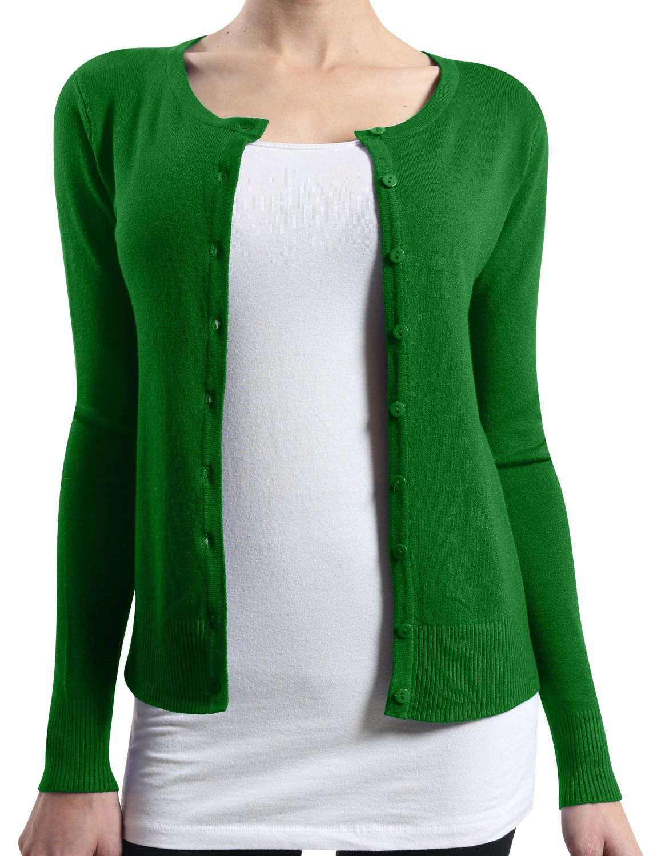 LE3NO Womens Basic Round Neck Fine Knit Cardigan  GREEN Large