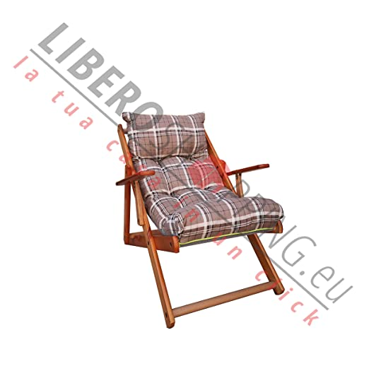 Sillón Tumbona Relax 3 Posiciones de Madera Plegable cojín ...