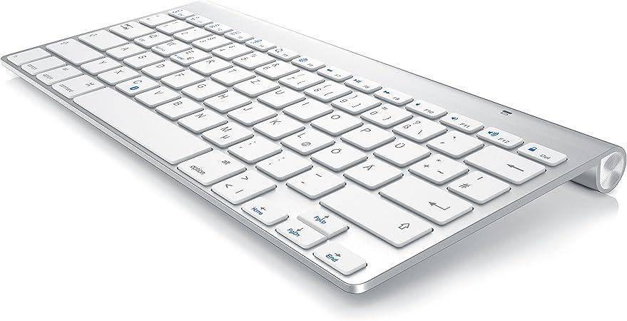 CSL – Slim Bluetooth Teclado de Apple Style | Wireless Keyboard | Mac Style | Multimedia de teclas de función | Estado de LED (Azul) | Disposición QWERTZ (Alemán) para iOS, Android,