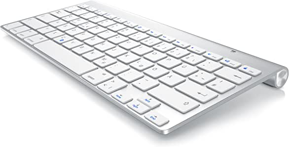 CSL - Bluetooth toetsenbord in Mac Style - draadloos toetsenbord - multimediatoetsen - QWERTZ-lay-out - voor iOS Android Windows - compatibel met PC Notebook Mac Macbook Pro Smartphone Tablet - zwart