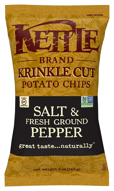 Kettle Brand Potato Chips, Krinkle Cut Salt & Fresh Ground Pepper, 5 Ounce (Pack of 15)
