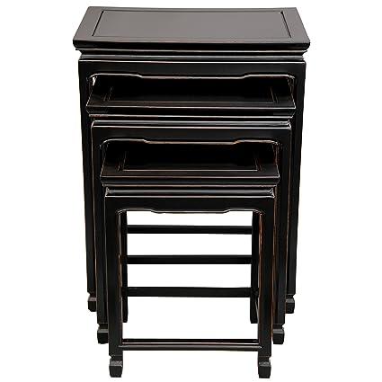 Amazon.com: Oriental Furniture Rosewood Nesting Tables   Antique Black:  Kitchen U0026 Dining