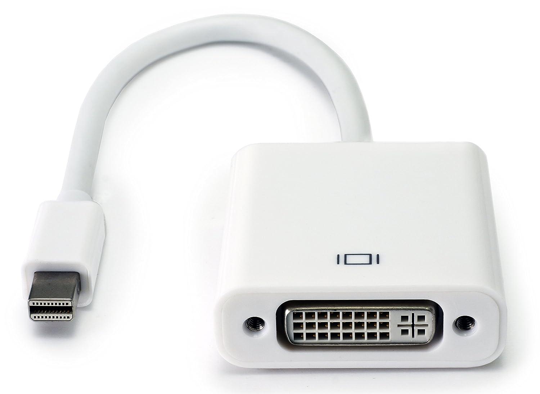 MyGadget Mini DisplayPort DP a DVI Adaptador Blanco Lenovo Cable Convertidor a HD 1080 P Compatible con Apple MacBook Air Pro iMac Surface Pro