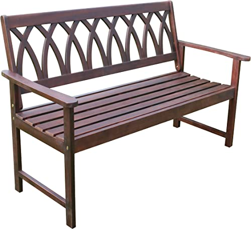 northbeam Criss Cross Acacia Wood Outdoor Garden Patio Bench
