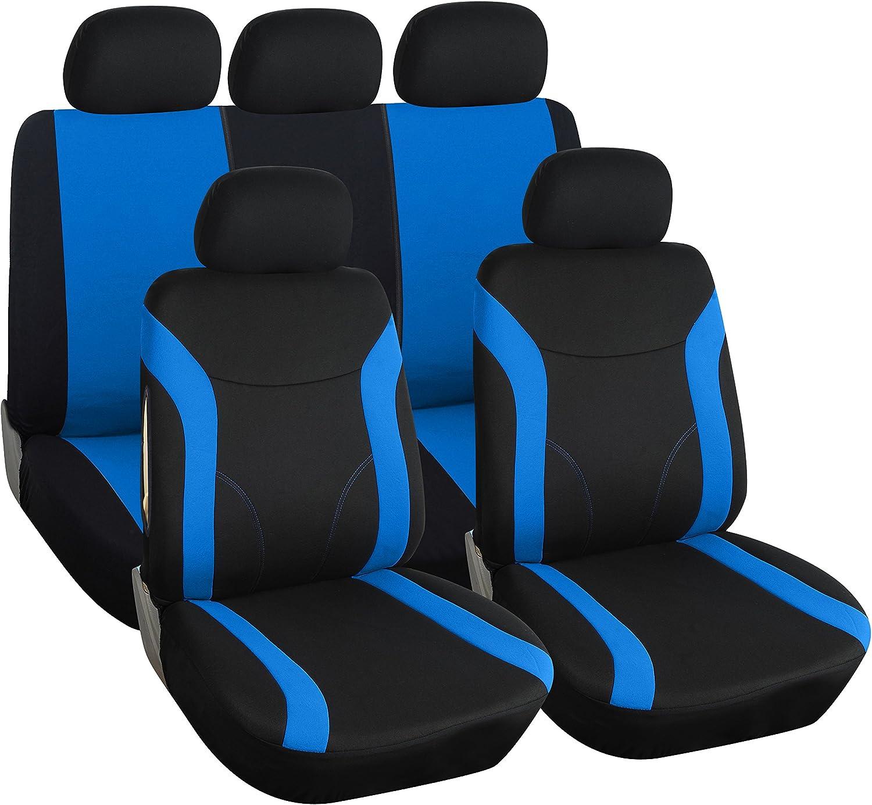 Noir-Bleu Velour Sitzbezüge pour FORD FIESTA Siège-auto référence complet