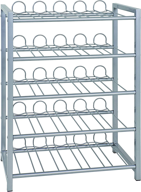 Porta Bottiglie in Alluminio argento 22 x 34 x 72 cm Haku M/öbel metallo