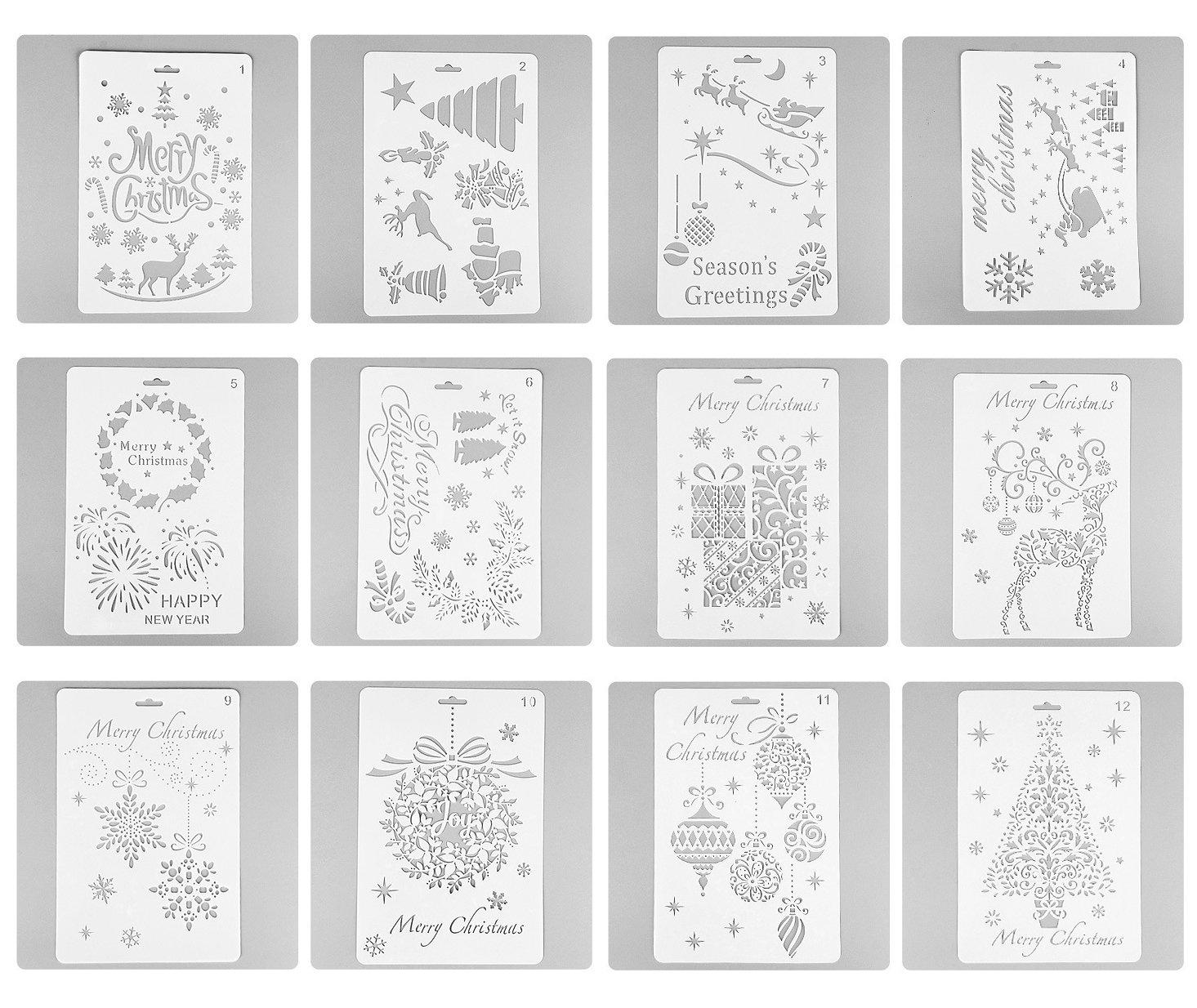 Amazon.com: MAGICMAI Christmas Stencils Bullet Journal Stencil ...