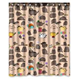 """60""""(width)x72""""(length)Funny Hipster Cat customized 100% polyester bathroom shower curtain"""