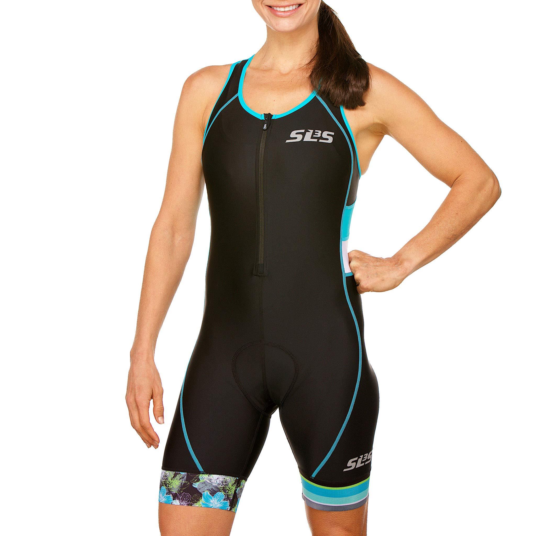 SLS3 Women`s Triathlon Suit FX | Womens Trisuits | 1 Pocket Triathlon Gear Suits Women | Anti-Friction Seams Womens Tri Suit | German Designed (Black/Martinica Blue, XL) by SLS3 (Image #1)