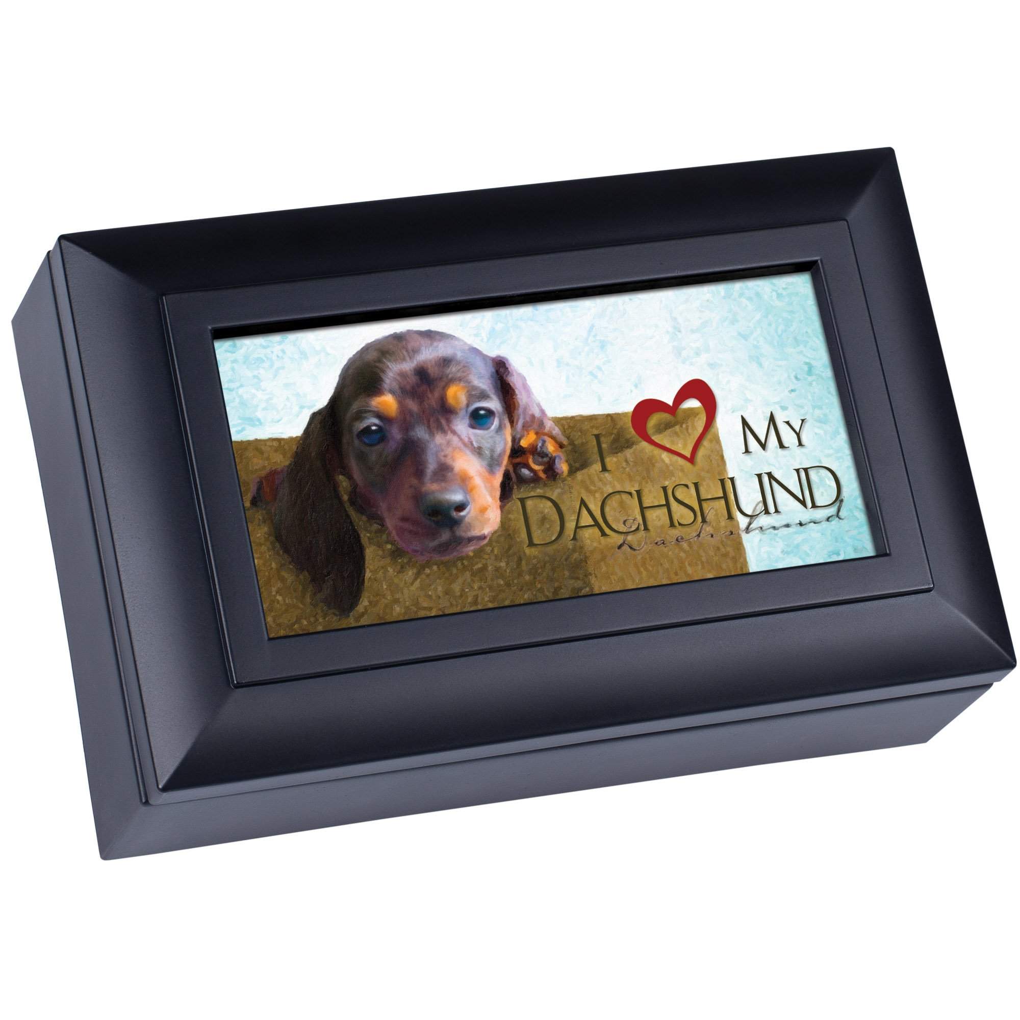 Love My Dachshund Cottage Garden Matte Black Finish Petite Jewelry Music Box - Plays Song Wonderful World