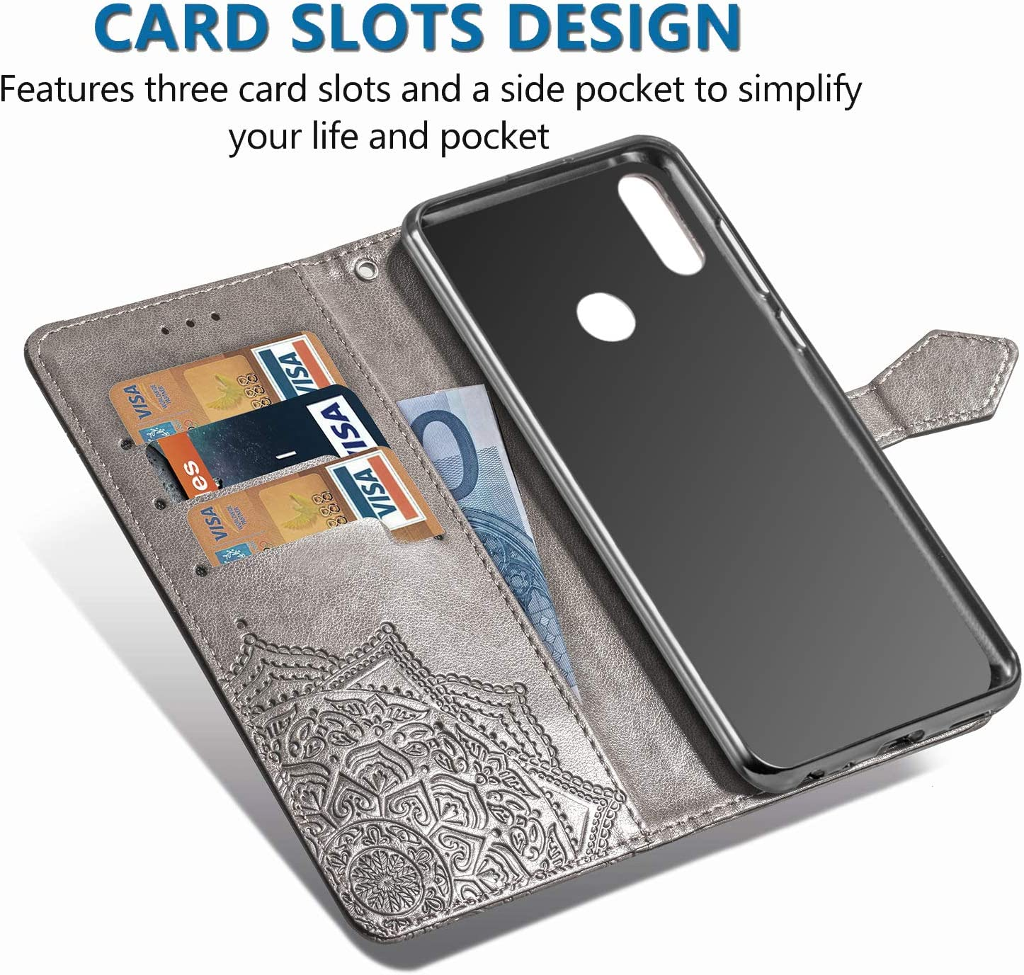 Retro Blumen Muster Design, Ultra Slim Handyh/ülle Wallet Tasche H/ülle Blau Flip Wallet Case Card Slot TANYO H/ülle Geeignet f/ür Huawei Y6s