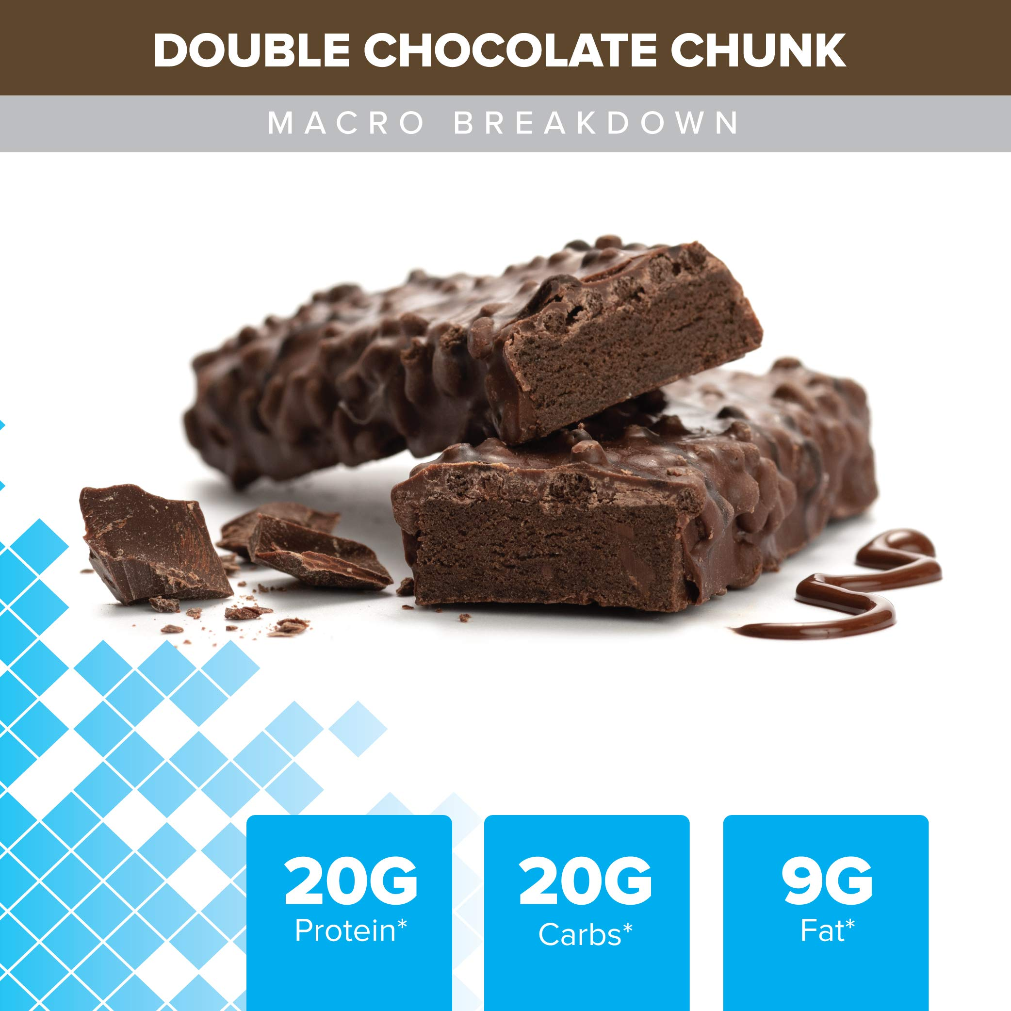 Bodybuilding Signature Protein Crunch Bar | 20g Whey Protein Low Sugar | Gluten Free No Artificial Flavors | (12 Bars, Double Chocolate Chunk) by Bodybuilding.com