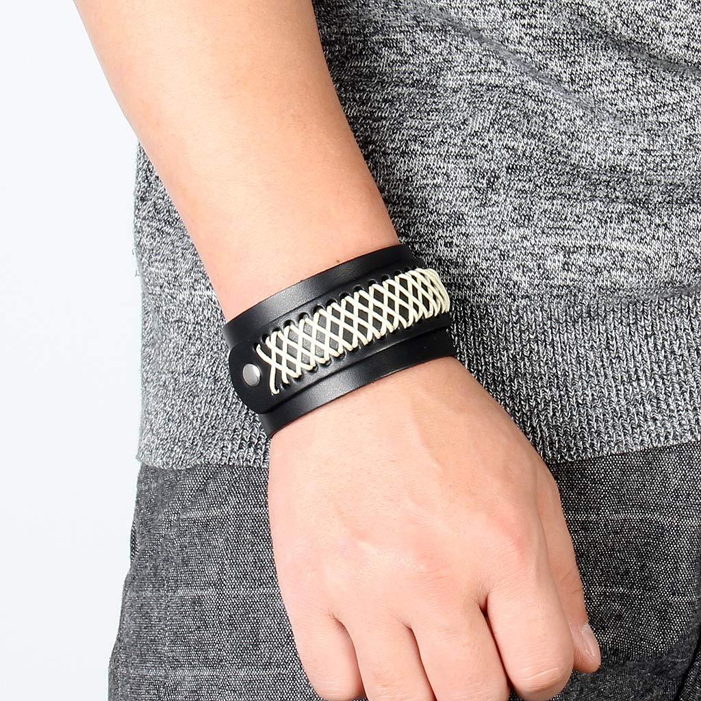 Jenia Leather Bracelet for Men Rope Braided Cuff Bracelet Punk Adjustable Wristband Wrap Bracelet Handmade Jewelry for Boys, Kids, Teens by Jenia (Image #7)