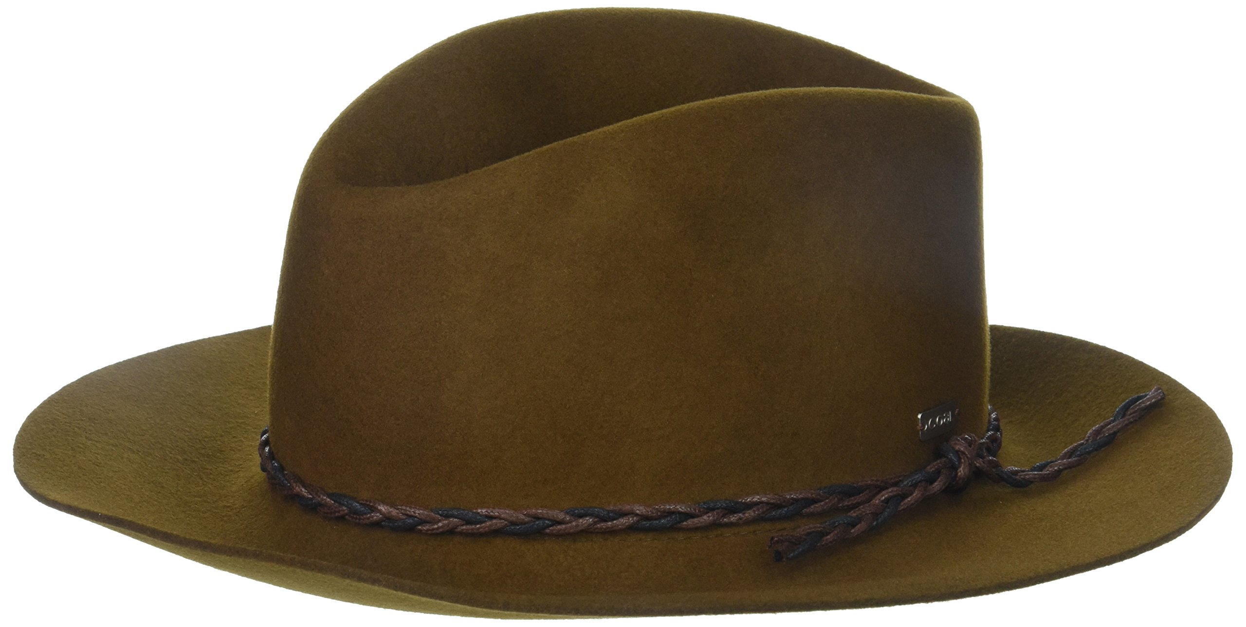 Coal Women's The Simone Crushable Wool Felt Cloche Hat with Asymmetrical Brim, Brown One Size