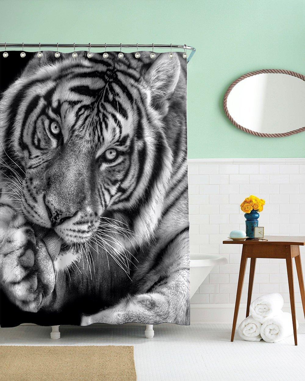 Gwein Black and White of Wild Animals Tiger Home Decor Shower Curtain Polyester Fabric Mildew Proof Waterproof Cloth Shower Room Decor Shower Curtains 66x72 by Gwein