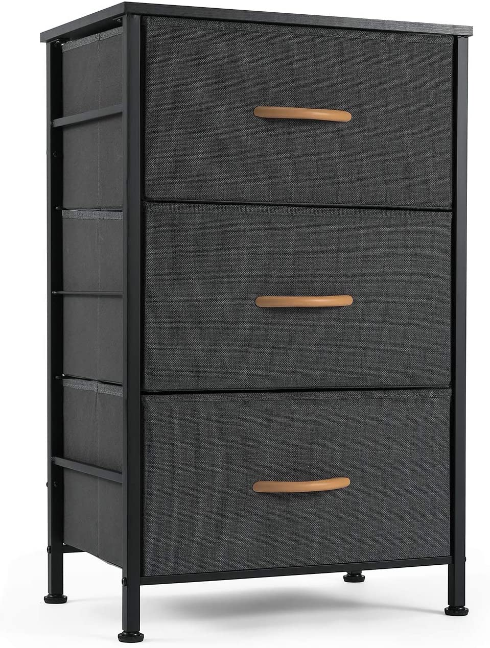 ROMOON Nightstand Chest with 3 Fabric Drawers, Bedside Furniture, Lightweight Accent Table, Storage Drawer Unit with Wood Top Fabric Bins for Bedroom, Hallway, Entryway, Closets, Nursery-Dark Indigo