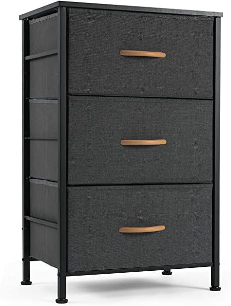 Amazon.com: ROMOON Nightstand Chest With 3 Fabric Drawers, Bedside Furniture,Lightweight Accent Table, Storage Drawer Unit With Wood Top Fabric Bins For Bedroom, College Dorm, Closets,Nursery - Dark Gray: Kitchen & Dining