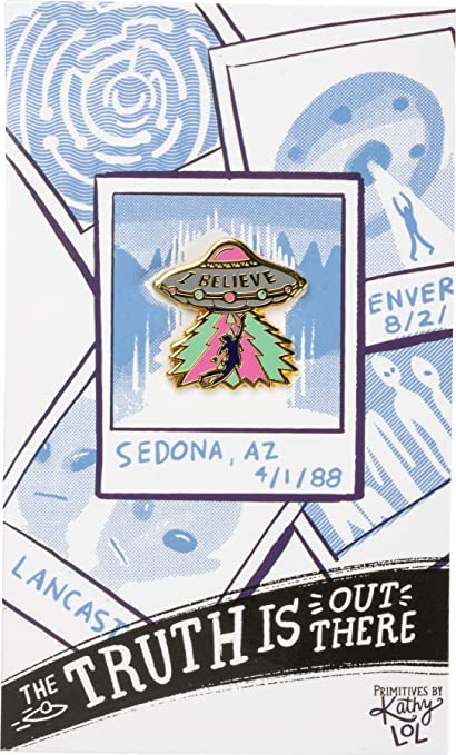Enamel Pin and Card for Lapel, Backpack, Purse, Lanyard, Jacket (Truth is  Out (UFO))