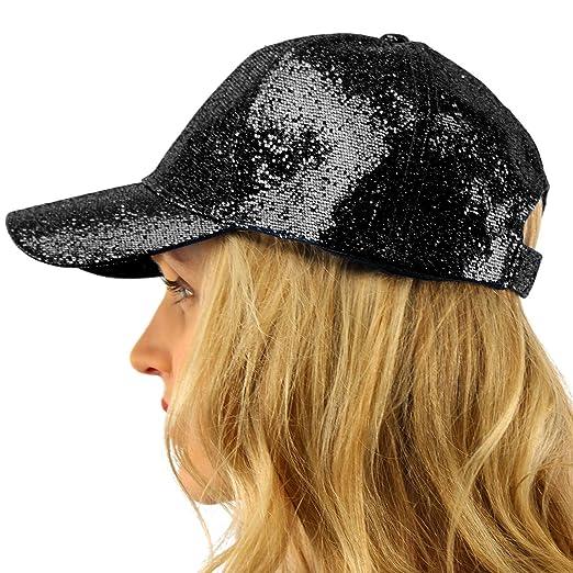 2f39a472068 Everyday Glitter Dance Party Bling Liquid Baseball Sun Visor Ball Cap Hat  Black