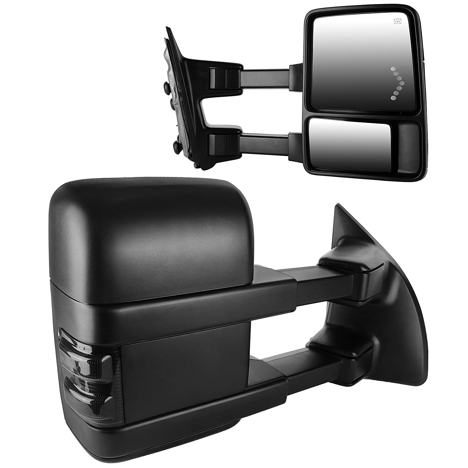 Dedc Pair 08 15 Ford F250 F350 F450 Towing Mirrors Power Mirror 2000 Wiring Heated With Red Led Signal Light Arrow Side View For Super Duty 2008 2009 2010