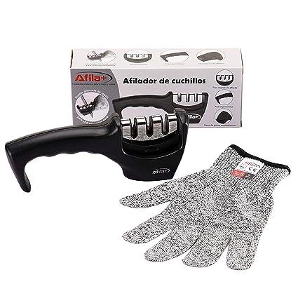 Afila+ | Afilador de Cuchillos de Cocina | Seguro, Fácil y Rápido de Usar | Con Base Antideslizante |Incluye Guantes Anticorte de Regalo.