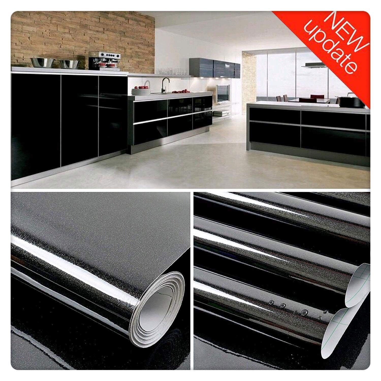 """Black Contact Paper Vinyl Self Adhesive Film Decorative Furniture Contact Paper Waterproof Stain-Resistant for Kitchen Counter Top Cabinets (11.8"""" X 78.8"""")"""