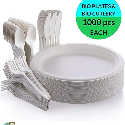 Juego de vajilla desechable, compostable y biodegradable, incluye ...