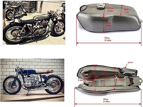 Tarazon 9l Universal Cafe Racer Motorrad Kraftstofftank Benzintank Tankdeckel Benzinhahn Für Honda Für Suzuki Für Kawasaki Für Yamaha Rd50 Rd350 Rd400 Für Bmw R100 R Auto