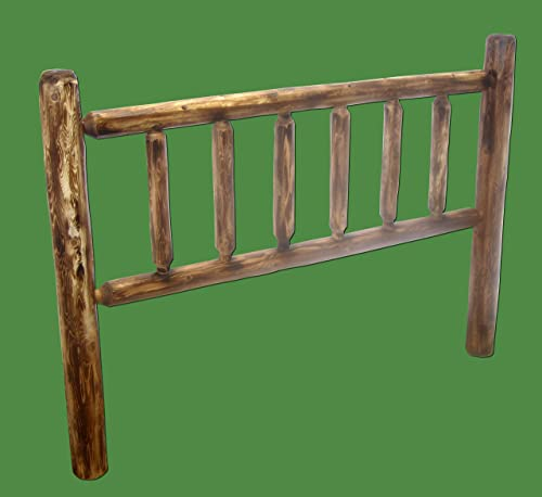 Midwest Log Furniture – Torched Cedar Log Headboard – Queen