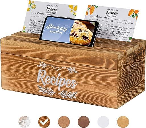 Pinelive 700+ - Caja de recetas con tarjetas y divisores y soporte para teléfono o iPad, madera de pino, caja de recetas con 100 fichas de recetas de 4 x 6 y 16 divisores: Amazon.es: Hogar