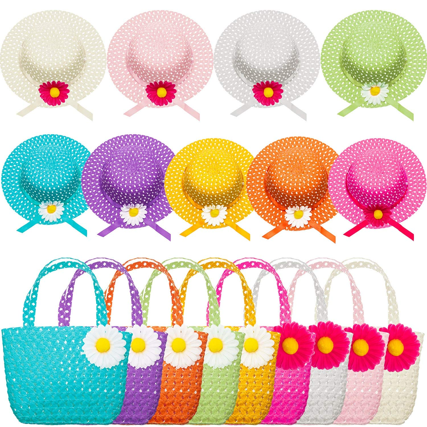 Zhanmai 9 Sets Girls Tea Party Hats Purse Daisy Flower Sun Straw Hat and Purse Sets Includes 9 Purses 9 Daisy Flower Sunhats 9 Colors by Zhanmai