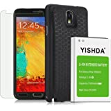 YISHDA Note 3 Extended Battery, 7000mAh Extended Li-ion Battery for Samsung Galaxy Note 3 N9000 N9005 N900V N900T N900A N900P & Back Cover & Protective Case, Tempered Glass Screen Protector Included