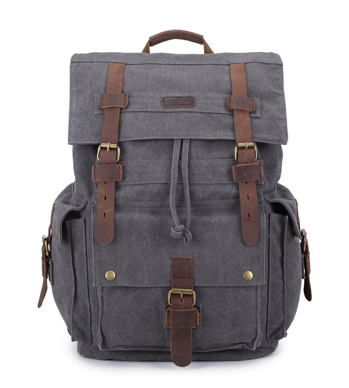 Beeaoo Canvas Backpack Bag,Rucksack, Travel Bag For Hiking, Camping,Durable Heavy Duty Multipurpose (Grey)