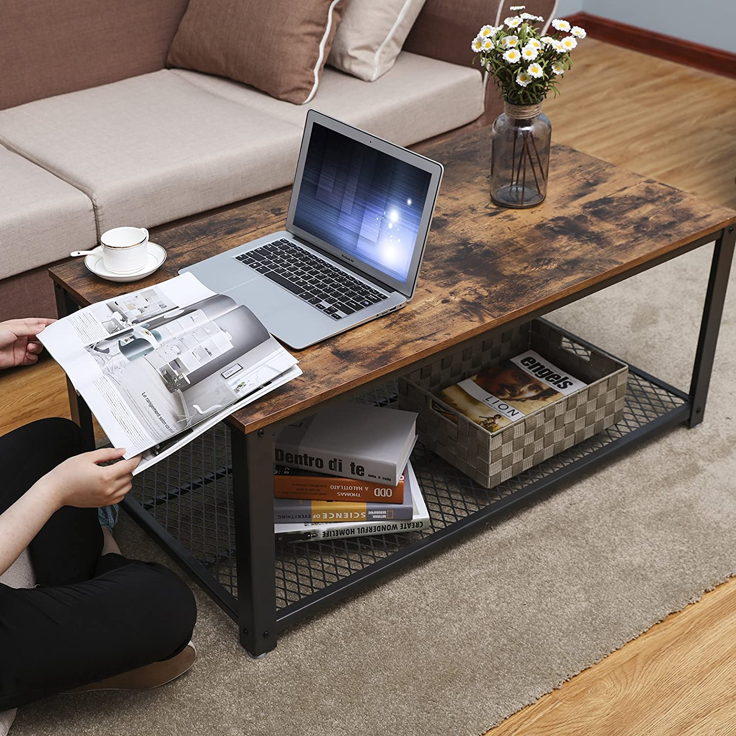 Amazon.com: SONGMICS Antique Coffee Table Vintage Cocktail Table With  Storage Shelf For Living Room ULCT61X: Home U0026 Kitchen