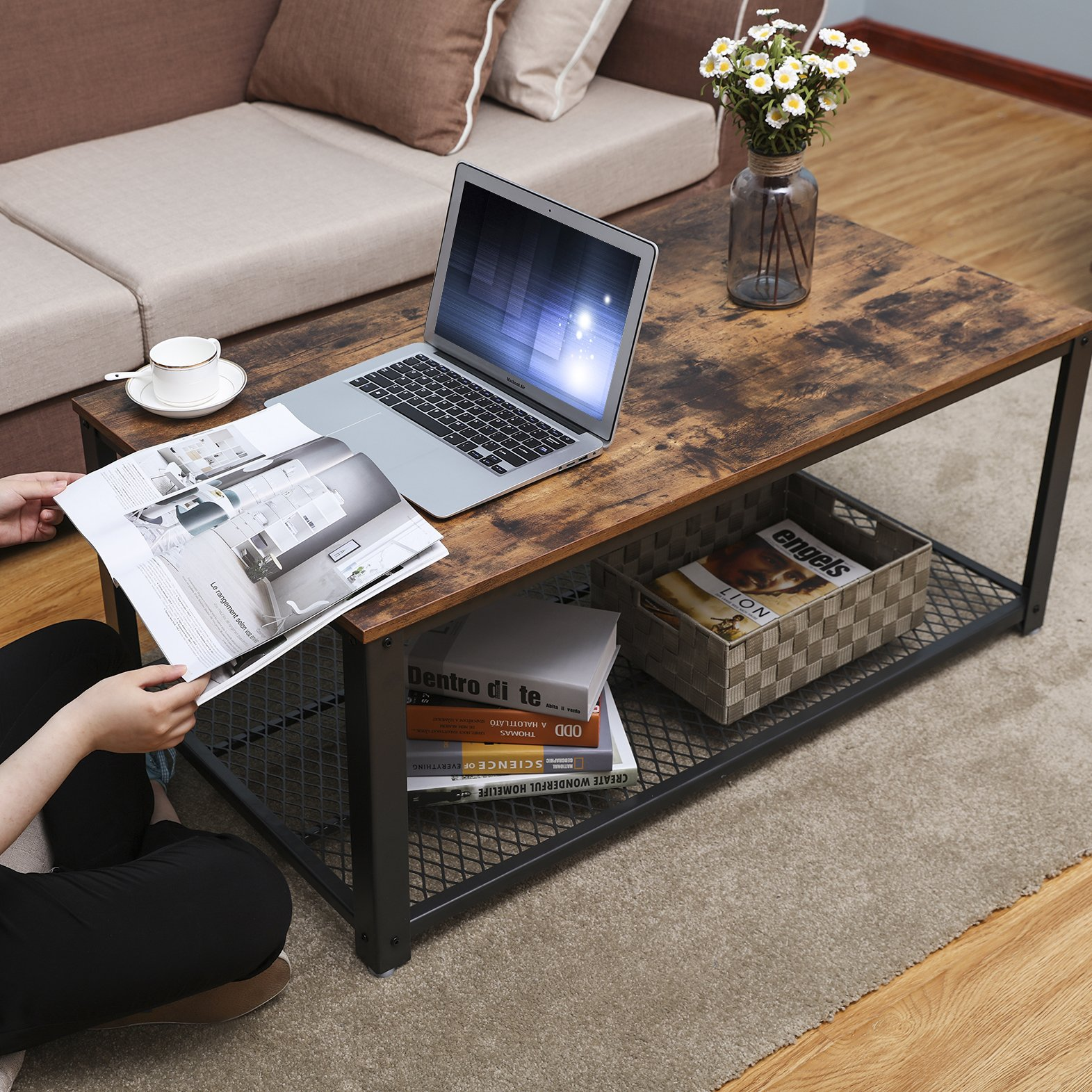 SONGMICS Vintage Coffee Table, Cocktail Table with Storage Shelf for Living Room, Wood Look Accent Furniture with Metal Frame, Easy Assembly ULCT61X by SONGMICS (Image #2)