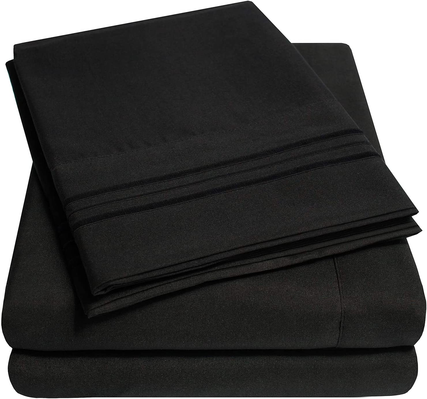 1500 Supreme Collection Extra Soft Queen Sheets Set, Black - Luxury Bed Sheets Set with Deep Pocket Wrinkle Free Hypoallergenic Bedding, Over 40 Colors, Queen Size, Black