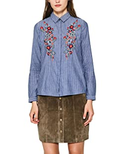 edc by ESPRIT Damen 087CC1F018 Bluse, Mehrfarbig (Blue 430), Medium