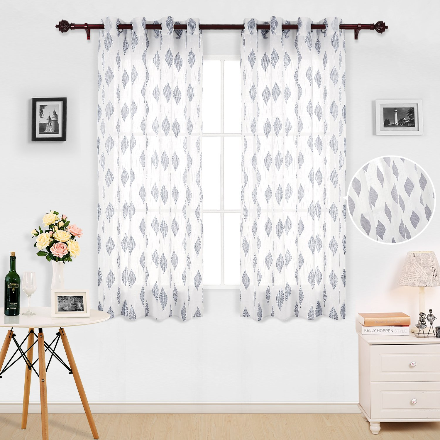 Deconovo Home Fashion Sheer Grommet Curtains Jacquard Leaf Pattern Gray Sheer Panels for Kids Room