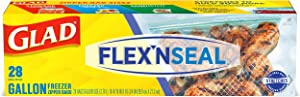 Glad FLEX'N SEAL Freezer Storage Bags, Gallon – 28 count(Package May Vary)
